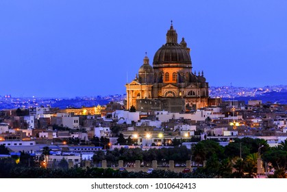 Rotunda of St. John the Baptist, Victoria city, Gozo island, Malta at sunset