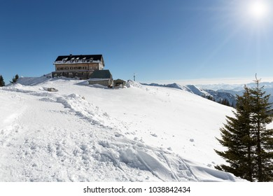 The Rotwandhaus shelter in the bavarian alps in winter