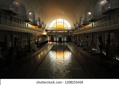 Roubaix, France. March 2016. Low light view of La Piscine Museum of Art and Industry, disused public swimming pool built in 1932 in art deco style, reimagined as Museum of Art and Industry