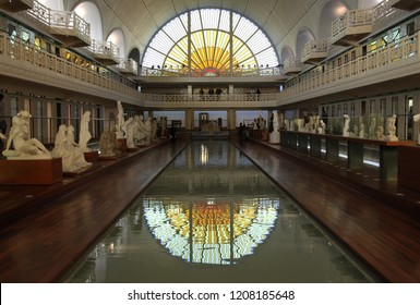 Roubaix, France. March 2016. View of La Piscine Museum of Art and Industry, disused public swimming pool built in 1932 in art deco style, reimagined as Museum of Art and Industry, recently extended.