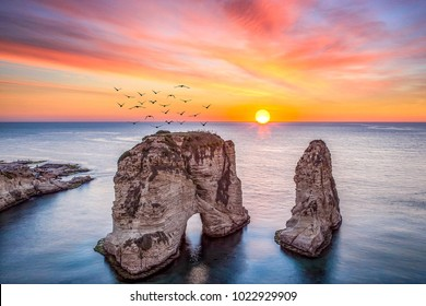 Rouche Sunset In Beirut