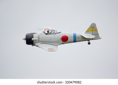 Roudnice nad Labem, CZECH REPUBLIC - JUN 27.: Japanese Zero WWII aircraft perform a flight display at the MEMORIAL AIR SHOW 2015 on June 27., 2015 in Roudnice nad Labem, Czech republic.