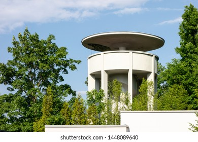 ROUDNICE NAD LABEM - MAY 25, 2019: Modern Kratochvilova rozhledna (Kratochvil's Lookout Tower) in Roudnice nad Labem made from concrete.