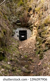 Roudny, Czech republic - April 02 2011: Entrance to the Moric adit of former Roudny goldmine. The mine was operational from 1893, the adit was used mostly for prospection and drainage.