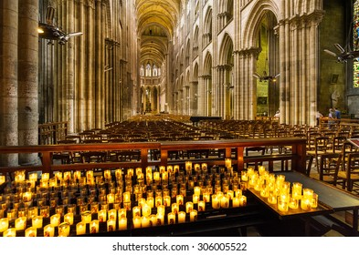 ROUEN, FRANCE - AUGUST 9th, 2015: Interior View of Notre Dame Cathedral in Rouen, Normandy, France.