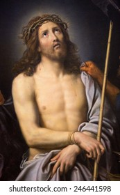 ROUEN, FRANCE - FEBRUARY 10, 2013: Painting depicting Jesus on Good Friday, by Pierre Mignard, in the Museum of Rouen, France.