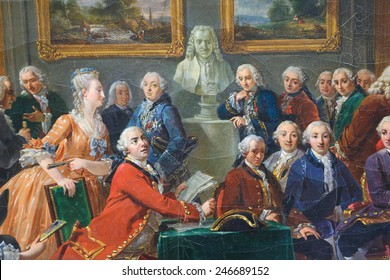 ROUEN, FRANCE - FEBRUARY 10, 2013: Painting depicting the reading of the tragedy l'Orphelin de la China by Voltaire in the salon of Madame Geoffrin in Paris in 1775.