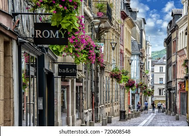 ROUEN, FRANCE - JULY 30, 2017: Cityscape of Rouen. Rouen in northern France on River Seine - capital of Upper Normandy region and historic capital city of Normandy.