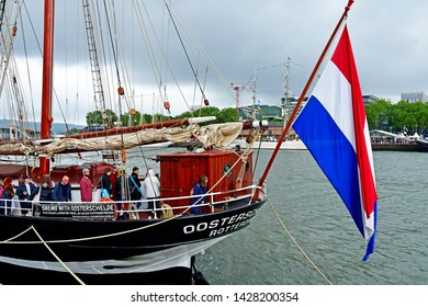 Rouen, France - june 10 2019 : the Oosterschelde in the Armada de Rouen, a collection of old sailing boats