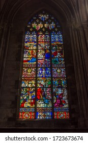 Rouen, France - May 7, 2019: Stained glass window of Cathedral of Notre-Dame de Rouen in Rouen, Normandy, France.