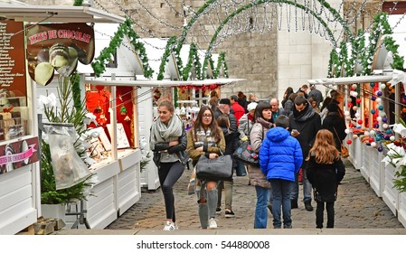 Rouen, France - november 26 2016 : the christmas market in from of the cathedral