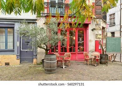 Rouen, France - november 26 2016 : restaurant in the historical city center