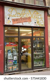 Rouen, France - november 26 2016 : comics shop in the historical city center in winter