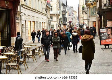 Rouen, France - november 26 2016 : the historical city center in winter