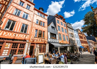 ROUEN, FRANCE - September 07, 2017: Street view with beautiful half-timbered houses in the old town of Rouen city, the capital of Nrmandy region in France