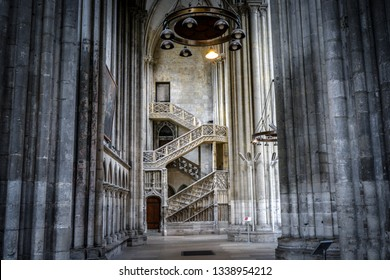 Rouen, France - September 19 2018: The Booksellers' Staircase in Rouen Cathedral, a gothic stone masterpiece in the Normandy Region of Rouen France