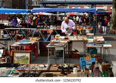 Rouen, France - september 9 2018 : flea market on the Saint Marc square