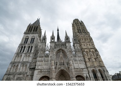 Rouen, Seine-Maritime / France - 12 August 2019: detail view of the facade of the cathedral in Rouen