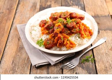 rougail saucisse, creole dish