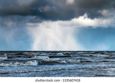 Rough Baltic sea, coast of Latvia.