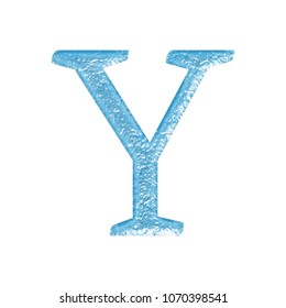 Rough bright blue color metal letter Y (uppercase or capital) in a 3D illustration with a rocky textured surface with splitting cracks and damage in an antique font on white with clipping path