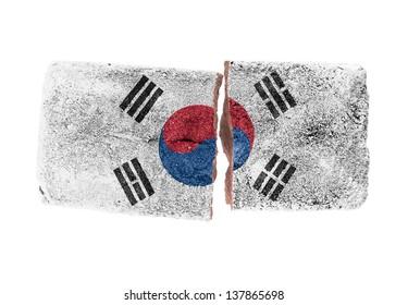 Rough broken brick, isolated on white background, flag of South Korea