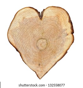 Rough cut of tree in the form of heart. Isolation on a whiteness