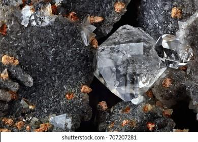 Rough diamond, Mirabeau diamond, Herkimer diamond, quartz in septaria in natural environment