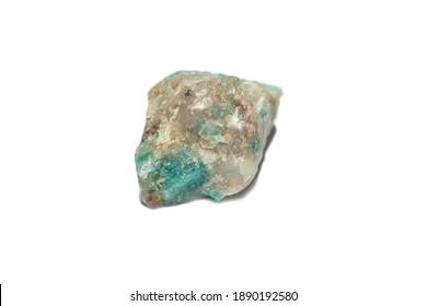 Rough emerald, in a quartz-pegmatite matrix, isolated on a white background