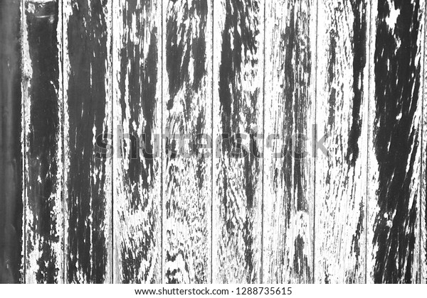 Rough Flaking Paint on Wood Texture in Black and White