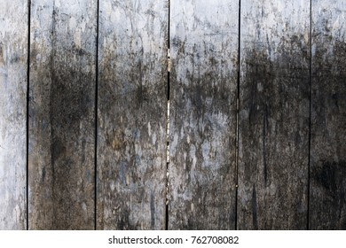 Rough grungy grey wooden floor photo background. Rustic wood plank closeup.  Silver wooden background. Boho design. Timber texture. Shabby chic banner template. Obsolete timber table. Wooden flat lay