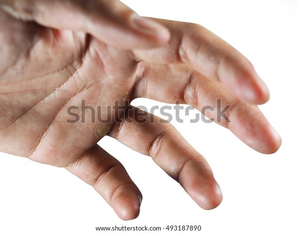 rough hand grab on white background