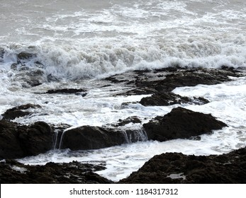 Rough Irish sea  on Donabate beach showing waves caused by storm Ali.