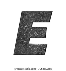 Rough metallic uppercase or capital letter E in a 3D illustration with a rocky texture and shiny dark gray metal surface with a basic bold font isolated on a white background with clipping path.