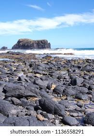 Rough ocean and cliffs at Bushrangers Bay near Cape Schanck, Australia 2017