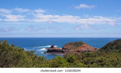 Rough ocean and cliffs at Cape Schanck, Australia 2017