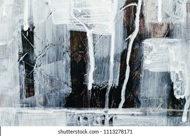 Rough paint textured black and white, artwork background