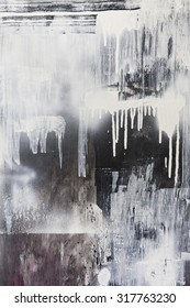 Rough paint textured black and white dripping spraypaint artwork background