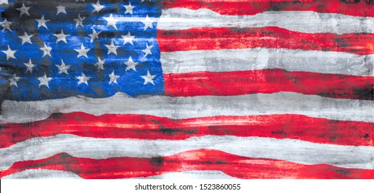 Rough painted US American flag  and USA abstract patriotism background or wallpaper