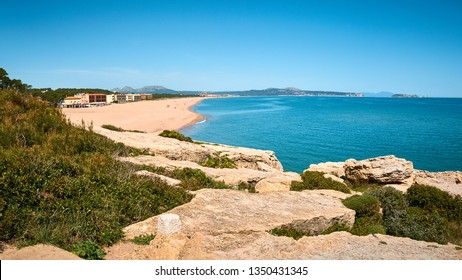 Rough rocky coast of Costa Brava. Platja de Pals (Beach of Pals). Spanish, Girona. Vacation tourism beautiful destination.
