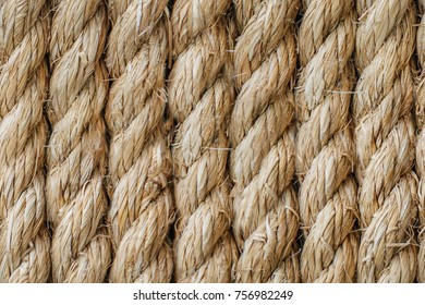 Rough rope background with copy space. Old manual rope rough close-up. Seamless texture.