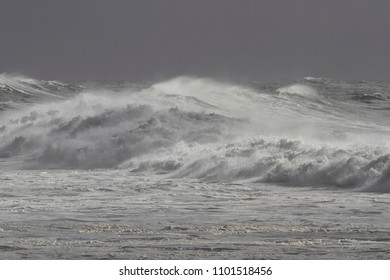 Rough sea with big stormy wind waves. Northern portuguese coast.