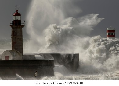 Rough sea at Douro river mouth during Helena storm.