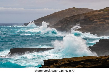 rough seas around the cliffs of east Oahu, Hawaii during the approach of Hurricane Lane on August 24, 2018