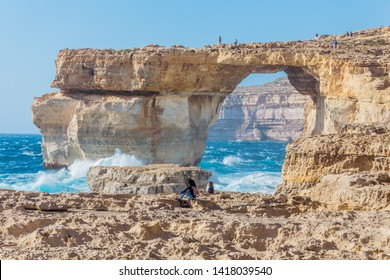 Rough seas at Azure Window in Gozo, Malta. The Azure Window, also known as the Dwejra Window, was a 28-metre-tall (92 ft) natural arch on the island of Gozo in Malta. It collapsed in storm on Mar 2017