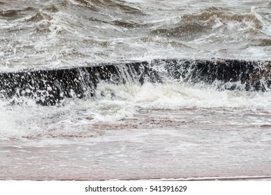 Rough seas in Montevideo, Uruguay