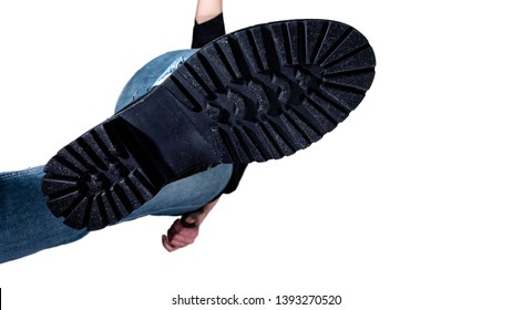 the rough sole of the shoe, a bottom view, a man coming from the top, crush, isolated on white background, man walking bottom view