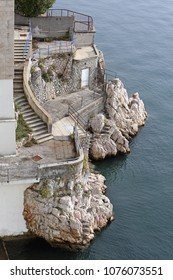 Rough Stone Coast With Stairs to Adriatic Sea