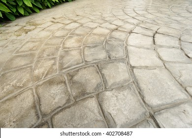 rough stone walkway,Stamped concrete