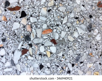 rough texture surface of exposed aggregate finish, Ground stone washed floor, made of small sand stone in light gray color